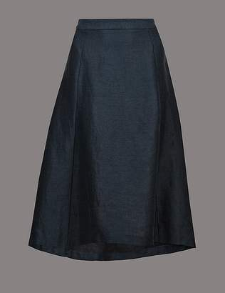 Marks and Spencer Pure Linen Asymmetric A-Line Midi Skirt
