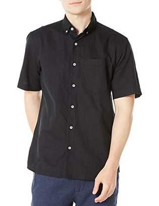 Isle Bay Linens Men's Standard Fit Short Sleeve Linen Cotton Button-Down Shirt XXX-Large