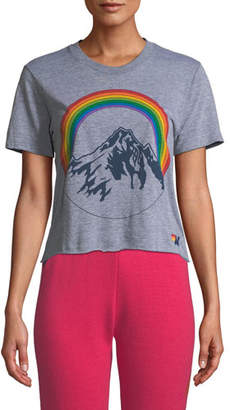Aviator Nation Mountain Rainbow Cropped Boyfriend Tee