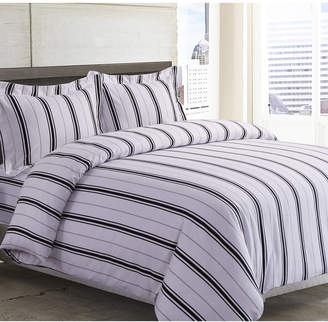 Tribeca Living Stripe Cotton Flannel Printed Oversized King Duvet Set Bedding