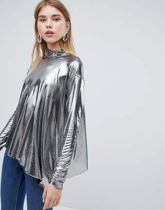 Weekday Metallic Asymmetrical Top