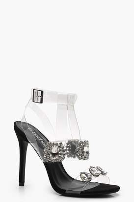 boohoo Embellished Clear Strap Sandals