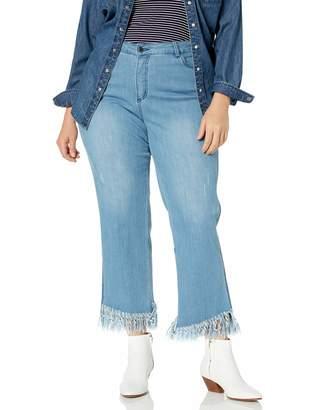 Slim Sation SLIM-SATION Women's Zip Front 5-Packets Eringe Hem Ankle Jean