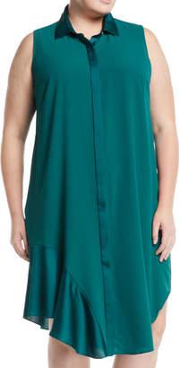 Rachel Roy Plus Sleeveless Silky-Trim Shirtdress, Plus Size