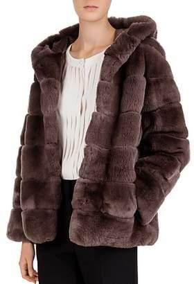 Gerard Darel Sabina Channeled Real Rabbit Fur Coat