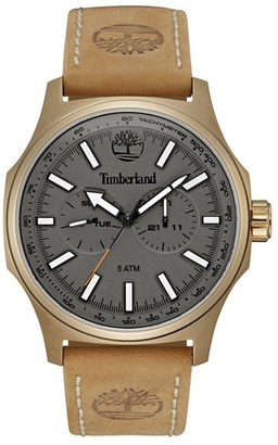 Timberland 'Shermand' Multifunction Leather Strap Watch, 56Mm $169 thestylecure.com