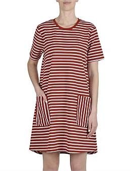 Jump Short Sleeve Striped A Line Dress