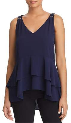MICHAEL Michael Kors Ring-Accented Tiered Peplum Top