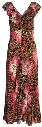 Rixo Antoinette Floral & Giraffe Print Midi Dress