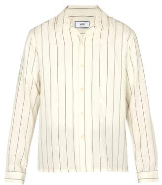 Ami - Oversize Striped Wool Blend Flannel Overshirt - Mens - White