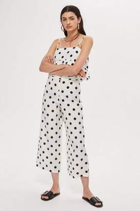 Petite polka dot pint cropped wide leg trousers
