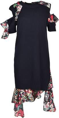 Sacai Ruffle-trimmed Knit Dress