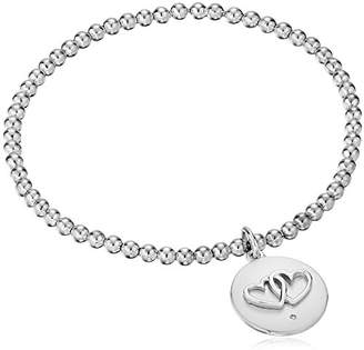 """Sterling Diamond Accent """"Together Forever"""" Double Heart Stretch Bead Charm Bracelet"""