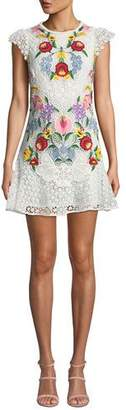 Saylor Cap-Sleeve Floral Embroidered Lace Mini Dress