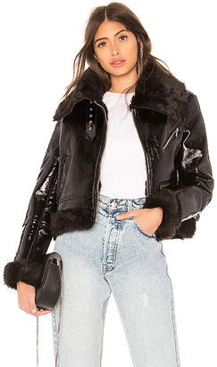 Miss Sixty Palmer Girls x Patent Leather Shearling Jacket