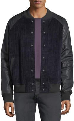 Hudson Men's Leather-Sleeve Corduroy Varsity Jacket