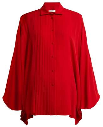 Valentino Pleated Silk Blouse - Womens - Red