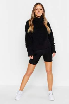 boohoo Petite Oversized Slouchy Teddy Fleece Sweater