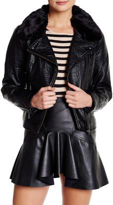 Jessica Simpson Raven Faux Fur Collar Moto Jacket $159.50 thestylecure.com
