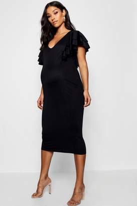 boohoo Maternity Extreme Frill Midi Bodycon Dress
