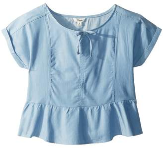 Maddie by Maddie Ziegler Chambray Short Sleeve Top with Ruffle Bottom Girl's Clothing