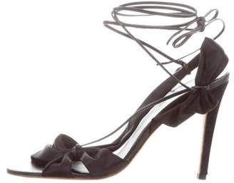Max Mara Satin Wrap-Around Sandals