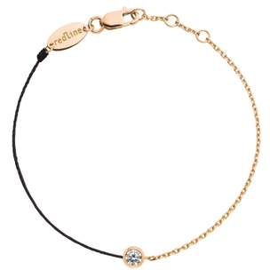 Redline 18ct Rose Gold And Diamond Pure Black Thread And Chain Bracelet