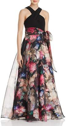 Eliza J Floral Organza Ball Gown