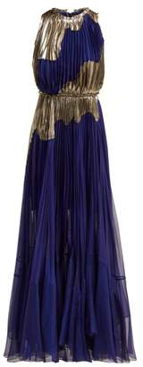 Maria Lucia Hohan Alanis Metallic Silk Blend Gown - Womens - Blue Silver