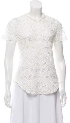 L'Agence Short-Sleeve Lace Top