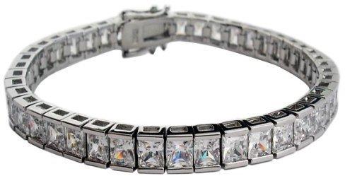 Zirconite Sterling Silver Clear Tennis Bracelet Cubic Zirconia Square Cut4MM