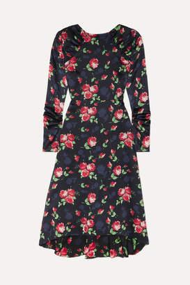Magda Butrym Crotone Open-back Floral-print Silk-satin Jacquard Midi Dress - Navy