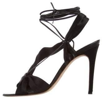 Max Mara Satin Lace-Up Heels