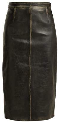 Miu Miu Distressed Leather Pencil Skirt - Womens - Black