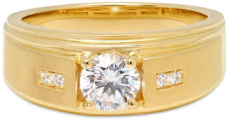 FINE JEWELRY Mens 14K Gold Over Silver Cubic Zirconia Ring