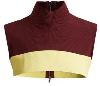 Colville - Cropped Sleeveless Sweater - Womens - Burgundy Multi