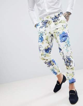 Asos DESIGN wedding skinny crop suit pants in white cotton with floral print
