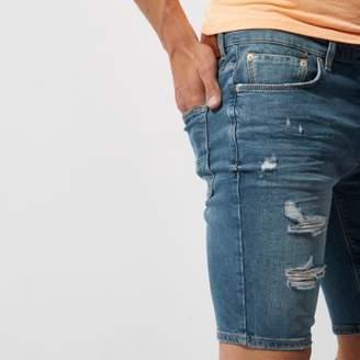 River Island Mid blue ripped skinny denim shorts
