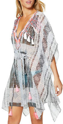 Ramy Brook Akila Embroidered V-Neck Coverup Caftan