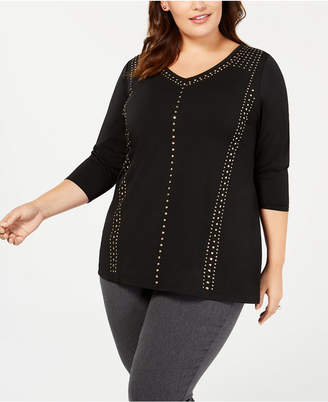 Belldini Belle by Plus Size Studded 3/4-Sleeve Top