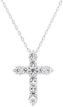 Danori Silver-Tone Crystal Cross Pendant Necklace, Created for Macy's