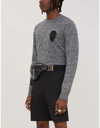 Alexander McQueen Skull-appliqué wool and cashmere-blend jumper