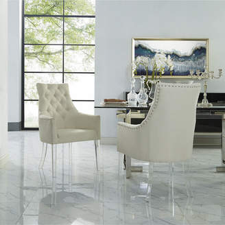 Asstd National Brand Inspired Home Set of 2 Winona Linen Acrylic Leg Square Arm Dining Chairs
