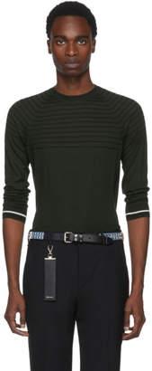 Prada Green Stripe Knit Crewneck Pullover