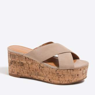 J.Crew Factory Suede slip-on cork wedges