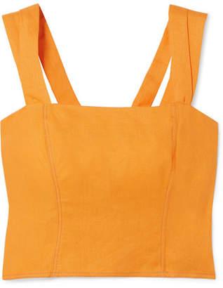 Nicholas Cropped Button-embellished Linen Top - Orange