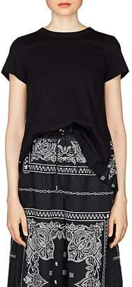Sacai Women's Bandana-Print Cotton Swing T-Shirt - Black