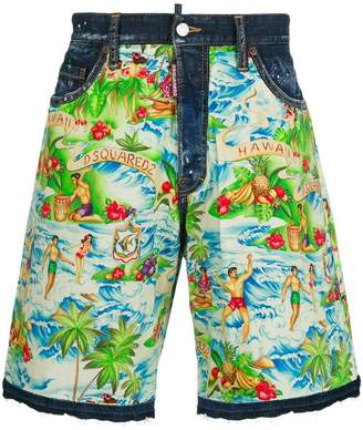 DSQUARED2 Hawaii print denim shorts