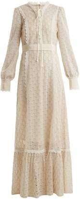 Logo-macramé lace-trimmed cotton-blend gown