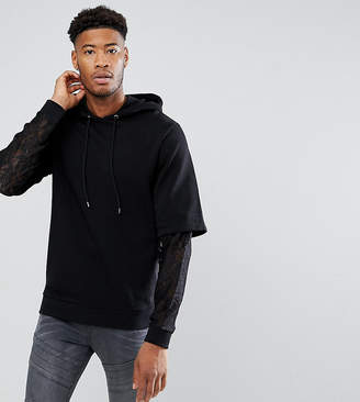 Asos TALL Oversized Hoodie With Double Layer Lace Sleeve